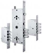 Корпус замка врезного двухцилиндрового 256 w/b с девиаторами, тягами и броней в комплекте (никель)