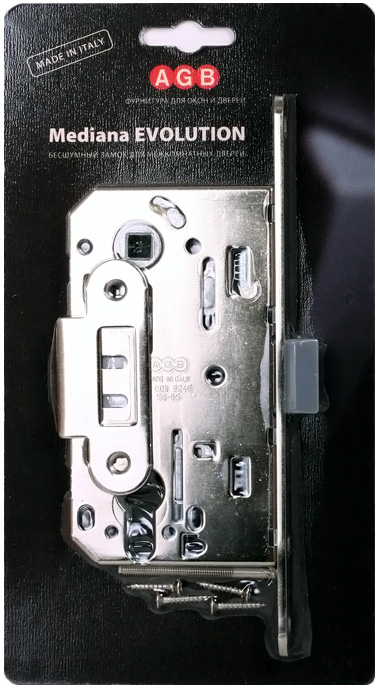 B01103.50.06.567 Замок межкомнатный под цилиндрич. механизм (никель) MEDIANA EV.(инд.упак+B01000.13)