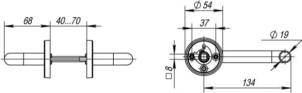 Ручка раздельная DSS-0203/19 (нержавейка), квадрат 8x110 мм