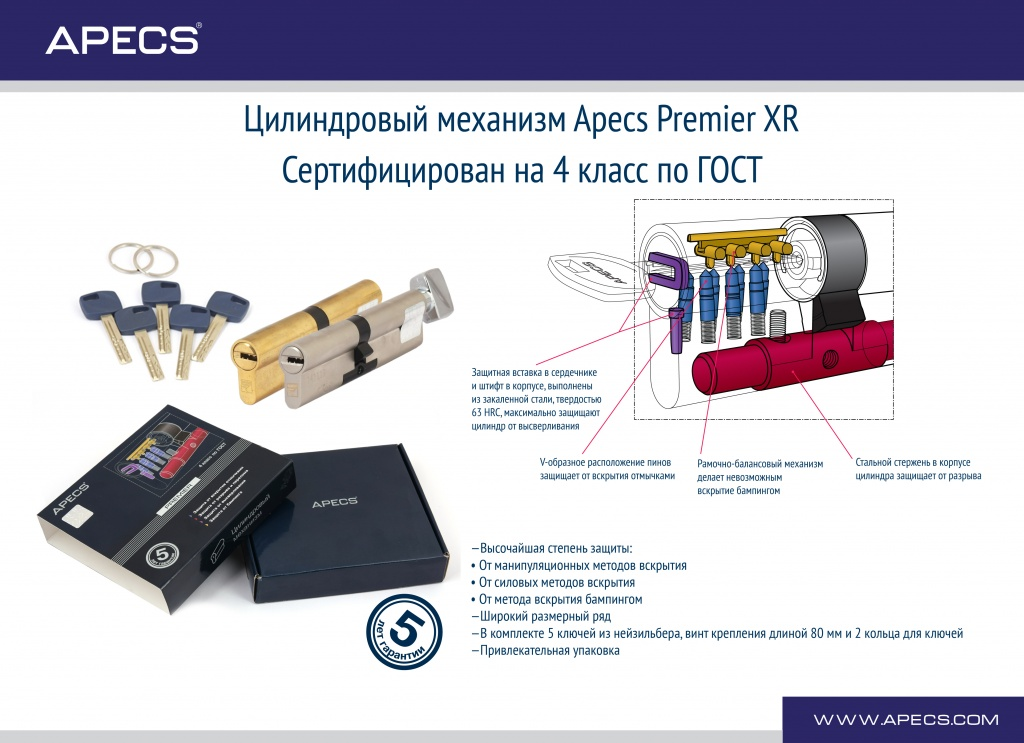 Цилиндровый механизм Apecs Premier XR