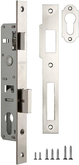 Корпус узкопрофильного замка с защелкой 153-20/85 CP (хром) меж. осев. расcт. 85 мм